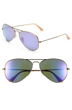 Ray-Ban 'Original Aviator' 58mm Sunglasses - Bronze - Grey Mirror Purple