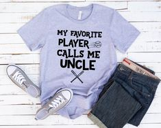 My Favorite Player Calls Me Uncle shirt- Short-Sleeve Unisex T-Shirt- Baseball Tee Papa Shirts, Dad To Be Shirts, T Shirts For Women, Funny Thanksgiving Shirts, Groom Shirts, Call My Dad, Dad Humor, Mode Vintage, Unisex