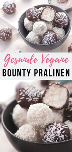 Healthy Vegan Coconut Bounty Chocolates My easy homemade Bounty and Raffaello Coconut Bliss Balls aka Coconut Truffles make the perfect healthy Christmas treat or edible. Sugar Free Treats, Sugar Free Desserts, Healthy Dessert Recipes, Health Desserts, Paleo Meals, Paleo Dessert, Eat Healthy, Paleo Recipes, Healthy Life