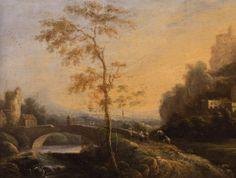 Italianate Landscape with Arched Bridge, Dutch, c. 1650, oil on canvas, 91.12.  #palmermuseumofart