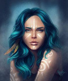 Blue hair by ShatilovaVictoria on DeviantArt - Trend Character Design Feminino 2019 Fantasy Portraits, Character Portraits, Fantasy Artwork, Character Art, Fantasy Inspiration, Character Design Inspiration, Fantasy Girl, Pintura Tribal, Blue Haired Girl