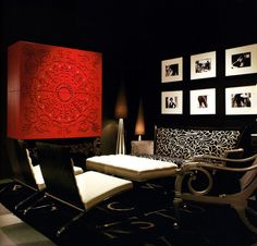 Home Theater Room Paint Color Design, Pictures, Remodel, Decor and Ideas - page 95 Living Room Red, Interior Design Living Room, Living Room Designs, Black And White Interior, White Interior Design, Diy Interior, Red Cabinets, Display Cabinets, Dark Interiors