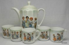 German China TEA POT Cups Rockwell Style Children Vintage NA | eBay
