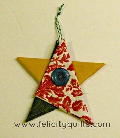 I learned how to make these adorable folded star ornaments at my traditional guild at least 10 years ago and haven& seen them anywhere since. I used this activity as a final assignment in an introduc Folded Fabric Ornaments, Quilted Christmas Ornaments, Christmas Fabric, Christmas Sewing, Handmade Christmas, Christmas Decorations, Christmas Quilting, Handmade Ornaments, Christmas Makes