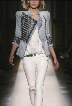 white skinnies.sequined tank.majorette. sequin.trimmed. denim jacket