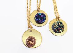 Druzy on Gold Disc Pendant Necklace • multi-color or dusty rose • gold plated or gold brass • sparkly brilliant faux druzy
