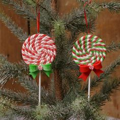 Shelley B Home and Holiday - Christmas Candy Lollipop Ornaments Red and Green set of 2, $9.00 (http://shelleybhomeandholiday.com/christmas-candy-lollipop-ornaments-red-and-green-set-of-2/)