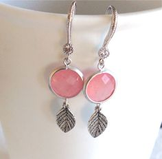 Drop+earrings+Blush+earrings,+Silver+earrings,+Gift,+christmas+gift,+pink+earrings,+Bridesmaid+earrings,+wedding+jewelry,bridal+jewelry+by+2010louisek7+on+Etsy