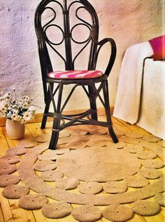 Vintage Crochet Pattern Circle Band Floor Rug 1970s Home Decor Accessory 50 inches Diameter Instant PDF Instant Download