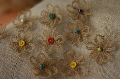 Burlap Flowers Daisies / Country Outdoor Nature by GreekBreeze, $10.00