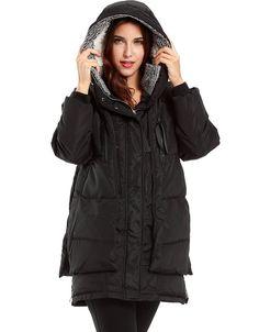 Komene Women's Winter Outwear Thickened Long Down Jacket with Hood black XL