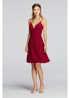 $80 - Short Spaghetti Strap Deep V Crinkle Chiffon Dress F19209