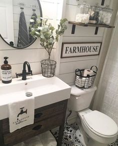 58 Inspiring Farmhouse Bathroom Remodel Ideas Home improvement bathroom wall effect pictures Small bathroom ideas remodel Guest bathroom ideas Bathroom decor ap. Modern Bathroom Designs On A Budget Fresh Farmhouse, Modern Farmhouse Bathroom, Farmhouse Homes, Rustic Farmhouse, Farmhouse Style, Farmhouse Ideas, Farm House Bathroom Decor, Country Bathrooms, Primitive Bathrooms