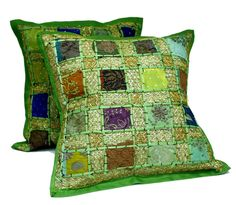 2 Green Embroidery Sequin Patchwork Indian Sari Throw Pillow Cushion Covers * Check out the image by visiting the link. (This is an affiliate link) #DecorativePillowsInsertsandCovers
