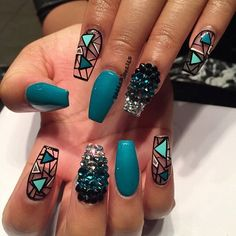 The transparent, glossy blue and studded coffin nails. With the transparent nails hitting the market trends, this nail art design is worth considering. J Nails, Dope Nails, Hair And Nails, Coffin Nails, Teal Nails, Ombre Nail, Matte Nails, Stiletto Nails, Turquoise Acrylic Nails