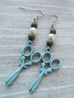 Vintage Looking Blue Scissor Hair Stylist Earrings. $11.00, via Etsy.