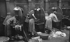 Women using the communal washing area known as the steamie - Glasgow                                                                                                                                                     More