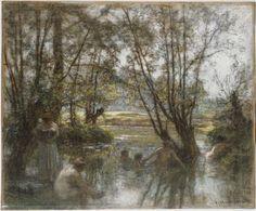 Léon-Augustin Lhermitte, Women and Children Bathing in a River, 1844–1925. Museum of Fine Arts, Boston.