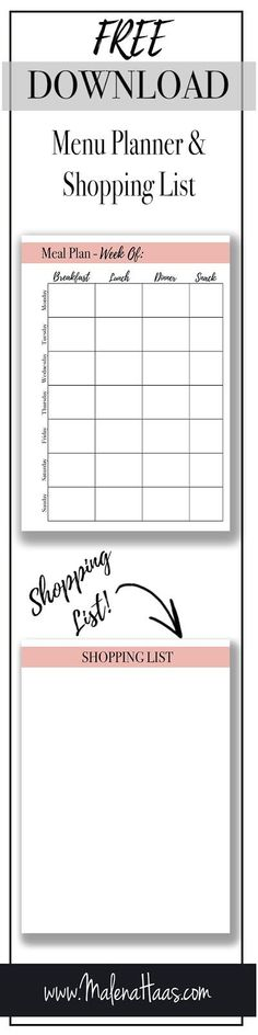 Free Download Meal Planner and Grocery Shopping List http://www.malenahaas.com/2018/03/freebie-friday-meal-planning-with.html