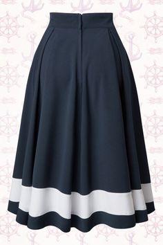 Petra Sailor Swing Skirt in Navy : Miss Candyfloss Sailor Navy Blue Swing Skirt 122 31 14878 20150410 Trendy Dresses, Blue Dresses, Vintage Dresses, Casual Dresses, Fashion Dresses, Summer Dresses, Formal Dresses, Summer Outfits, Chiffon Dresses