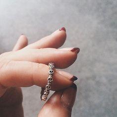 Bing Bang Eternity Skull Ring in a beautiful hand patina'd silver finish.