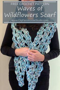Waves of Wildflowers Crochet Scarf Pattern All Free Crochet, Knit Or Crochet, Crochet Gifts, Free Knitting, Simple Knitting, Crochet Scarves, Crochet Stitches Patterns, Embroidery Patterns, Stitch Patterns
