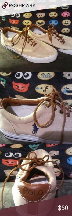POLO RALPH LAUREN CANVAS SHOES EUC..AUTHENTIC..CANVAS AND LEATHER SHOES...SIZE 13 Polo by Ralph Lauren Shoes Sneakers