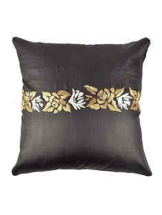 Parsi Gara Tussar Silk Cushion Cover - 16in x 16in