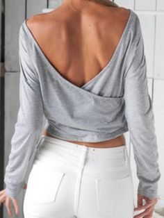 Gray Wrap Backless Long Sleeve Crop T-shirt