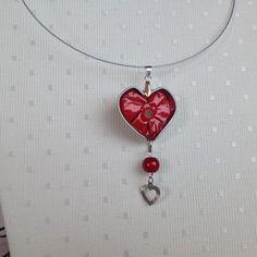 Collier tour du cou coeur  et perle rouge, capsule nespresso