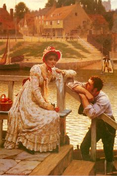 """Courtship"".  (by Edmund Blair Leighton)."