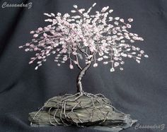 Cherry Blossom Beaded Bonsai Wire Tree Sculpture Bent Trunk Spring Colors - My Grandma used to make these! Wire Crafts, Bead Crafts, Bonsai Wire, Wire Tree Sculpture, Crystal Tree, Wire Trees, Blossom Trees, Cherry Blossoms, Wire Art