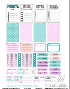 Free Printable Back to School Planner Stickers {page one} from Vintage Glam Studio