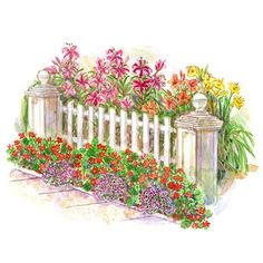 Easy Front Yard Garden Plan. free Planting Guide for this garden includes a larger version of the illustration, a detailed layout diagram, a list of plants for the garden as shown, and complete instructions for installing the garden