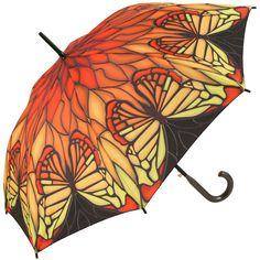 Galleria Art Print Walking Length Umbrella - Stained Glass Red Butterfly - Brolliesgalore