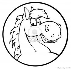 Coloring Page Of A Smiley Horse Face For Kids