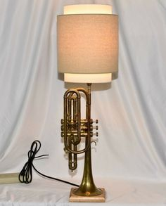 Repurposed/New Musical Instrument Table Lamp Made From Vintage Trumpet. New Lamp Ceiling Fan, Ceiling Lights, Port Saint Lucie, Creative Lamps, Felt Cover, Lamps For Sale, Trumpet, Musical Instruments, Repurposed