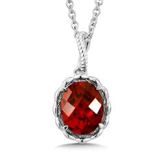 Sterling Silver Garnet Pendant  - A warm red garnet pendant with elegant detailing in sterling silver. Oval 10X8 mm center. Chain Included.
