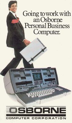"Osborne Personal Business Computer. We called these a ""luggable"" - no way could you swing it like that when walking along - it would have dislocated your shoulder!"