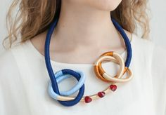Blue Gold Rope Statement Necklace Loop Thread by KiaFilStudios, $55.00