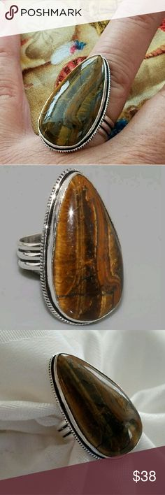 """TIGER EYE RING 1.2"""" Tiger Eye Teardrop Style Ring (Size 7) Stamped 925 Sterling Silver. Very Nice!! Jewelry Rings"""