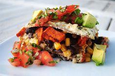 Sweet Potato Chipolte Enchilada Casserole Recipe #vegan