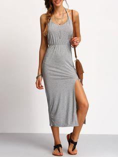 141eca3e2a Halterneck Backless Split Side Dress