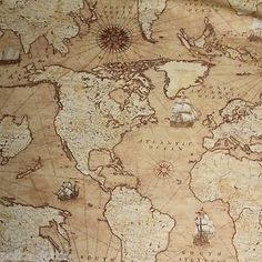 Windham fabrics world maps multi world maps cotton fabric antique vintage style world map atlas fabric 100 cotton linen look 135cm wide publicscrutiny Gallery