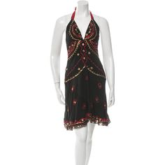 Pre-owned Temperley London Halter Dress ($95) ❤ liked on Polyvore featuring dresses, black, pre owned dresses, gold v neck dress, preowned dresses, sequin dress and halter-neck dress
