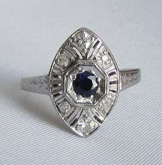 PLATINUM Art Deco Sapphire and Diamond Petite Navette Ring - Petite Engagement Ring, Promise Ring, Sweet Sixteen Ring, or Purity Ring!