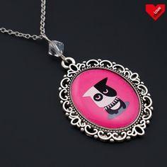 Vintage náhrdelník -  Zvrhlý pes růžový