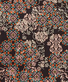 Disintegrating florals weave amongst embellished mosaic emblems to create an exquisite overlayed composition in this Floral Filigree Liberty print Graphic Patterns, Textile Patterns, Textile Prints, Cool Patterns, Textile Design, Print Patterns, Surface Pattern Design, Pattern Art, Abstract Pattern