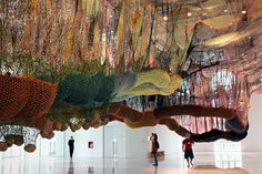 """Ernesto Neto's latest exhibition """"Slow iis goood"""" features brightly-coloured installations of crocheted polypropylene and polyester cord that hang from the ceiling. All hand-crocheted! Large Scale Art, Beautiful Mess, Installation Art, Artsy Fartsy, Bright Colors, Sculptures, Artist, Cord, Crafts"""