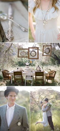 Outdoor Table: love the outdoor table setting with frames and clocks